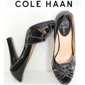 Cole Haan Black Patent Charlize Pumps Open Toe 11